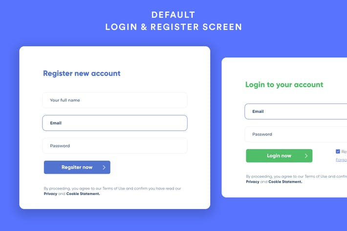 Default Login & Register Screen UI