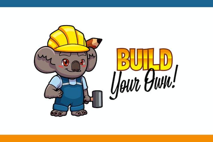 Thumbnail for Cartoon Cute Builder Koala Mascot Logo