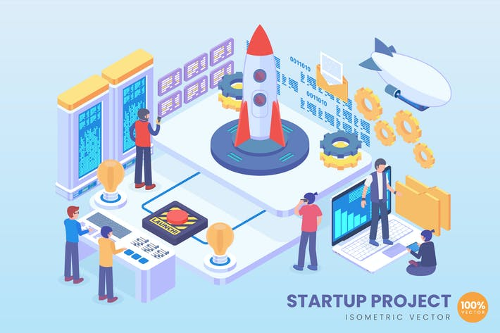 Thumbnail for Isometric Startup Project Vector Concept