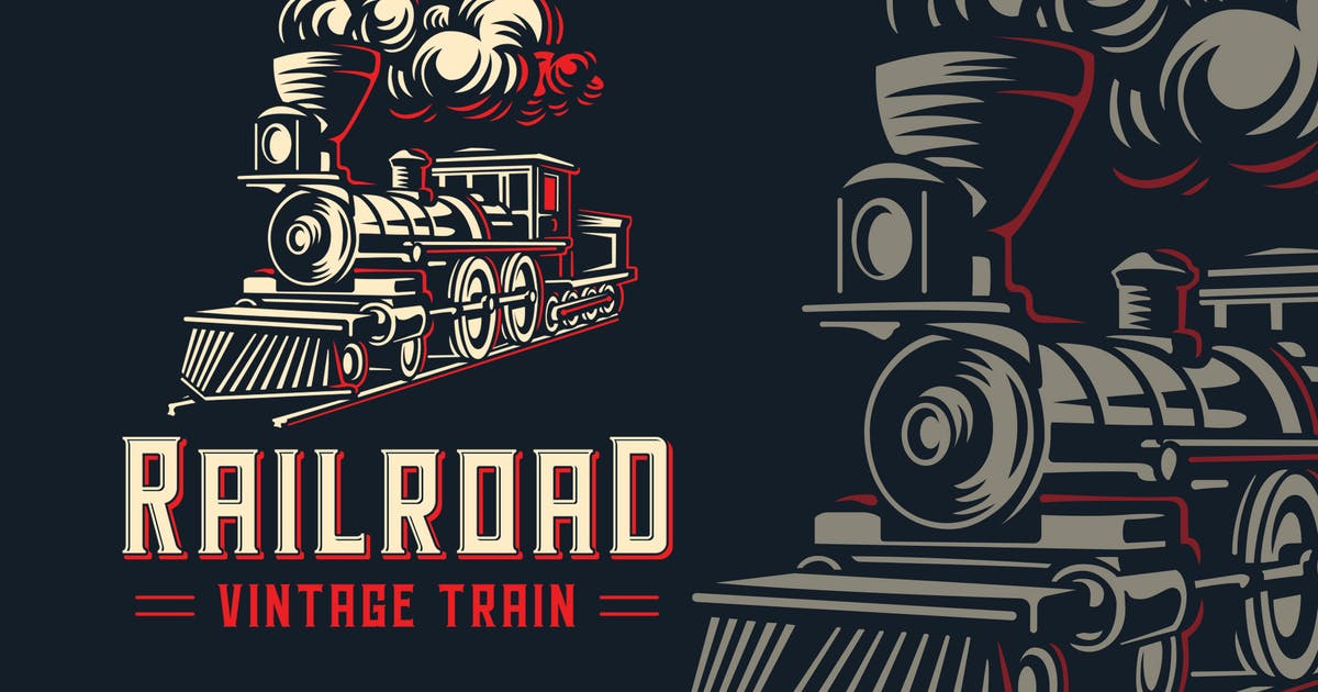 Download RailRoad Vintage Train Logo Template by Blankids