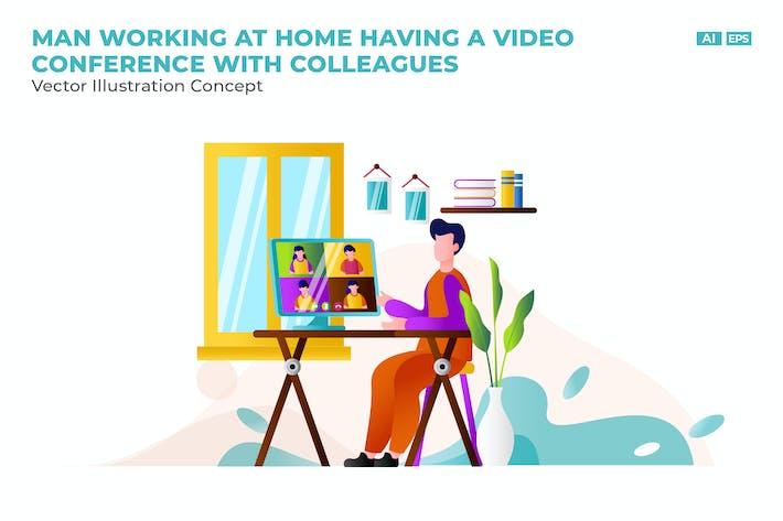 Thumbnail for Eine Video konferenz mit Kollegen Flat Vektor
