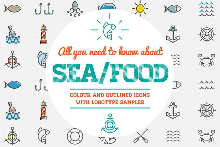 Thumbnail for Sea Food Color and Outlined Icons with Logotypes