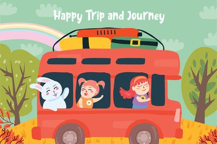 Happy Trip - Vector Illustration