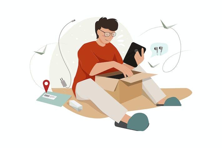 Thumbnail for Smart man unpacking big parcel illustration