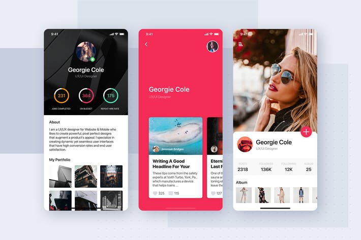Thumbnail for Profile UI mobile app template