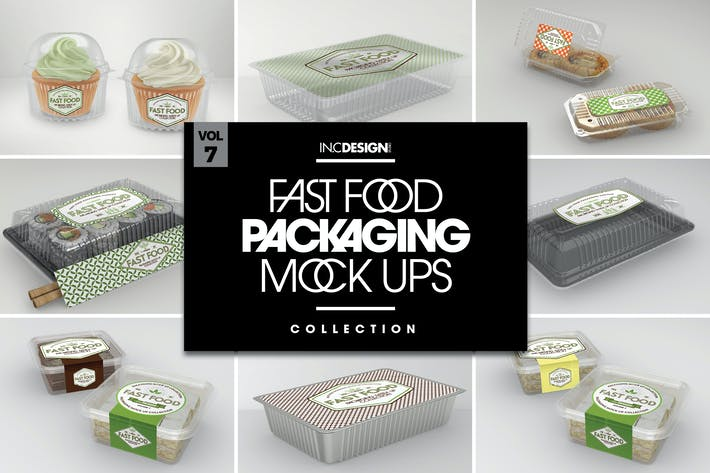 Thumbnail for Fast Food Boxes Vol.7: Take Out Packaging Mockups