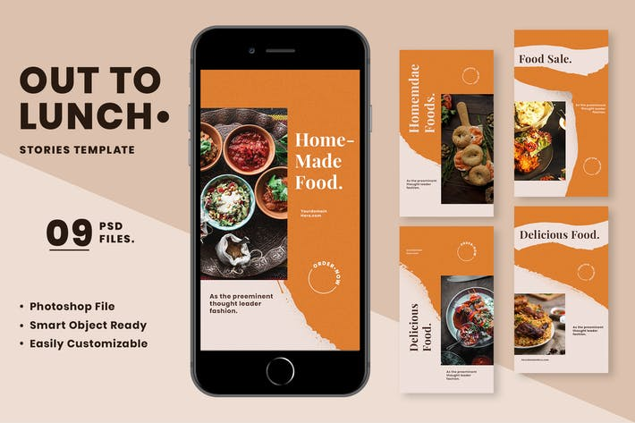 Thumbnail for Out To Lunch Food Instagram Stories Template