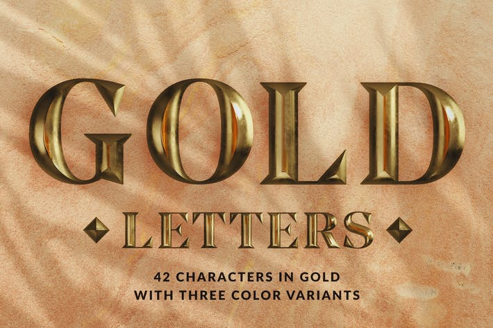 Thumbnail for Gold Letters - 3D Alphabets and Numbers