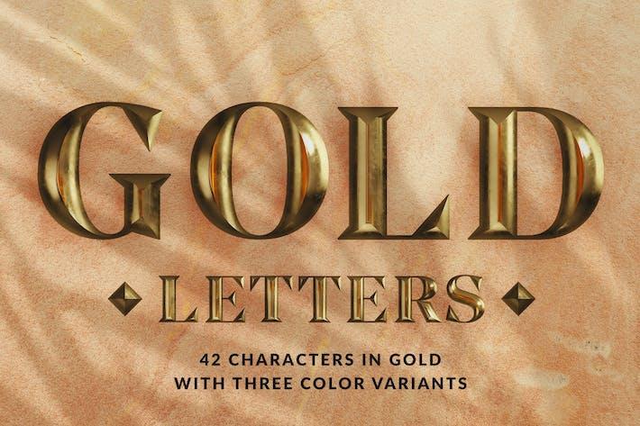 Thumbnail for Goldene Buchstaben - 3D Alphabete und Zahlen