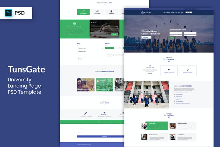 Thumbnail for University - Landing Page PSD Template-02
