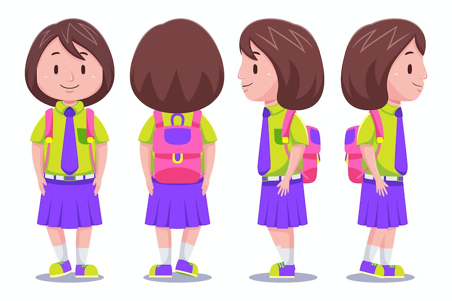 Cute Kids Girl Student Carrying Backpack #01