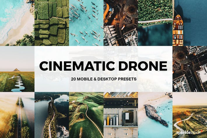 Thumbnail for 20 Cinematic Drone Lightroom Presets and LUTs