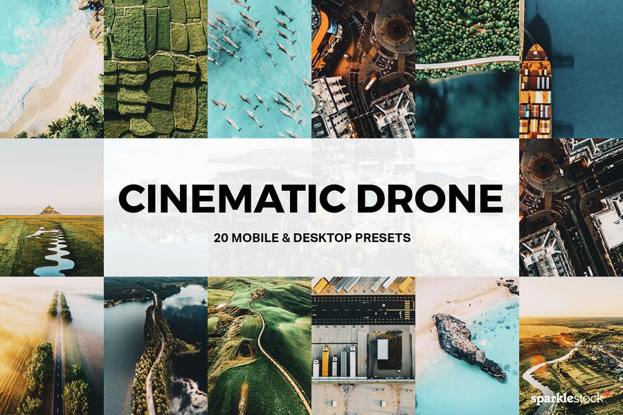 20 Cinematic Drone Lightroom Presets and LUTs