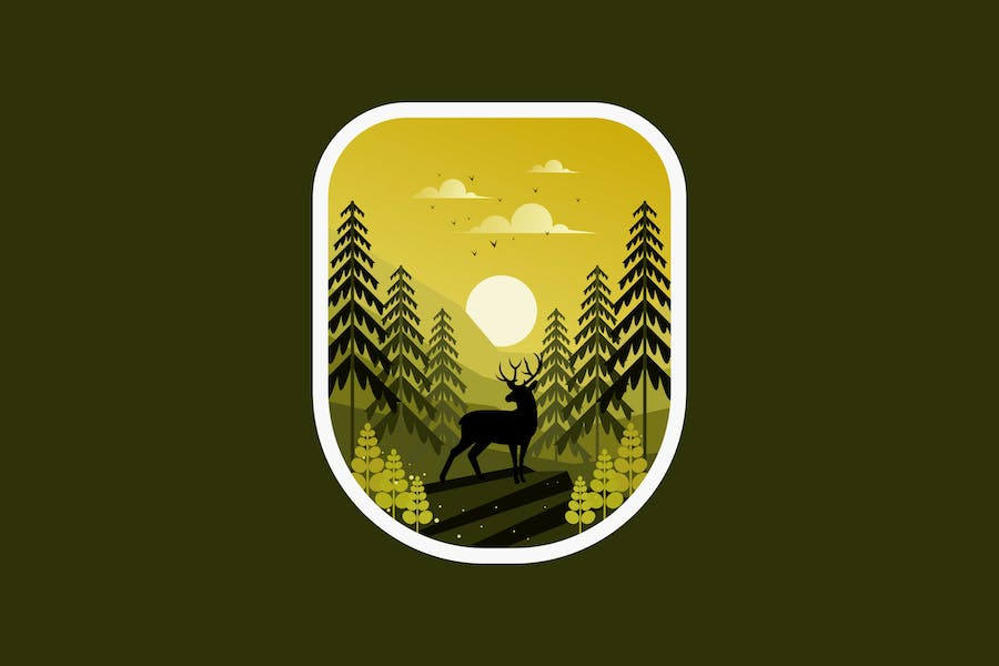 Deer with nature in the wood
