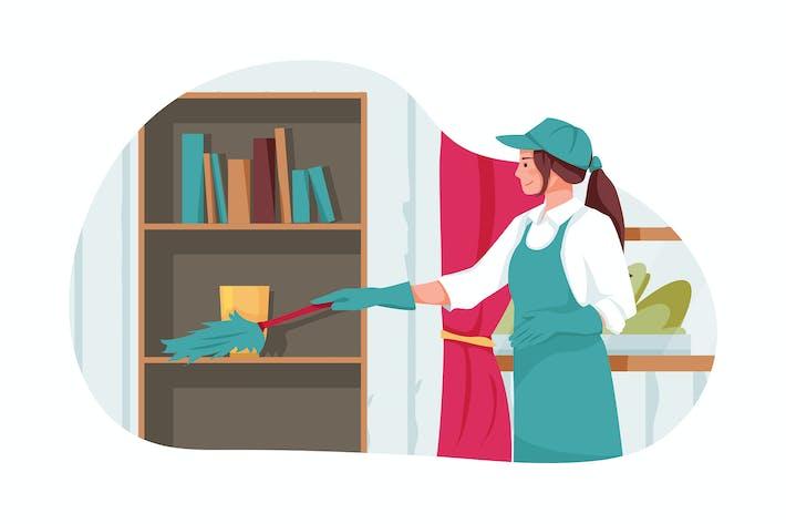 Reinigung Arbeiter reinigt das Büro