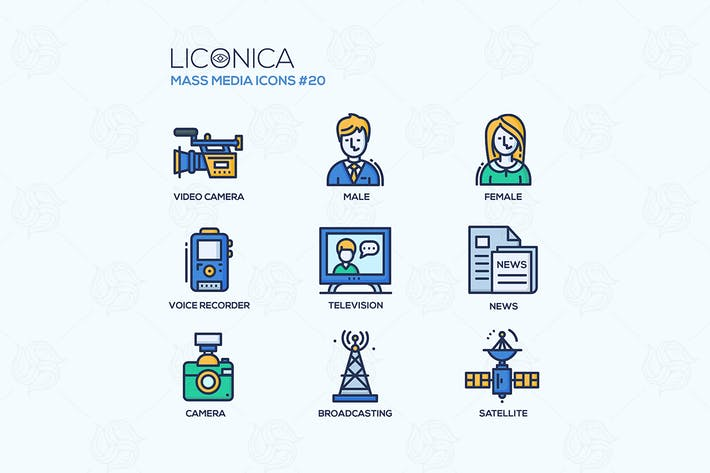 Thumbnail for Mass Media - coloured modern single line icons set