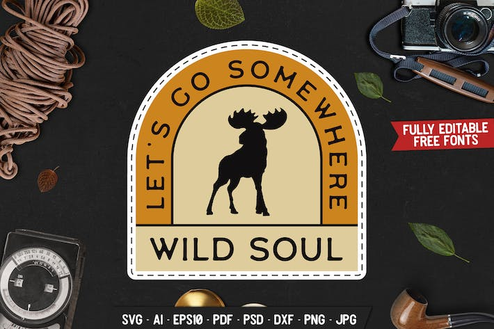 Thumbnail for Wild Soul Badge, Vector Adventure Retro Graphic