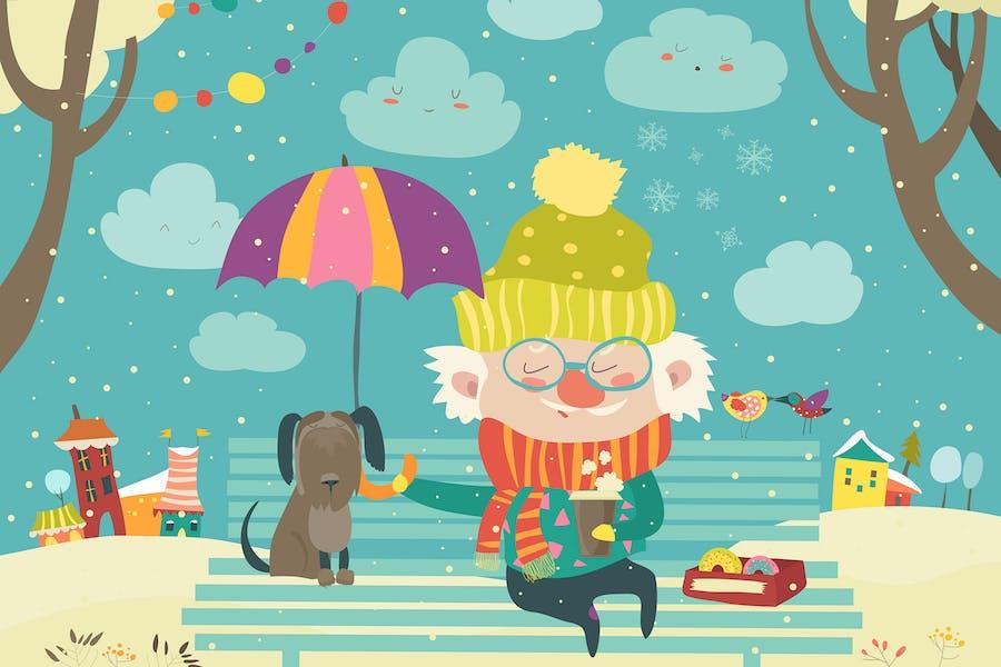 Alter Mann mit Hund unter Regenschirm. Beste Freunde.