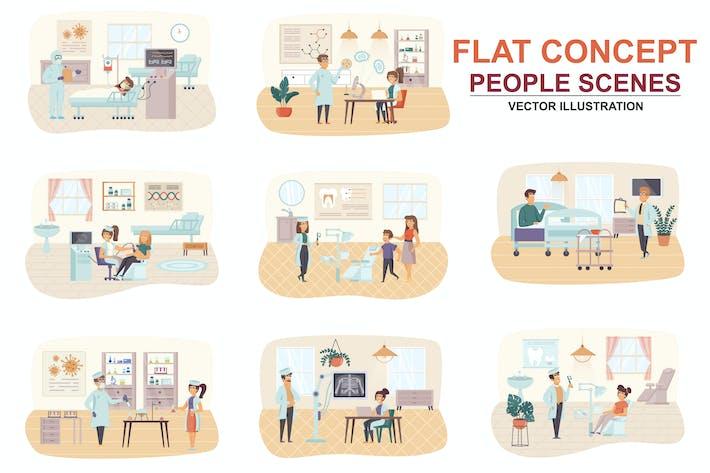 Thumbnail for Коллекция медицинской помощи плоская концепция люди сцены