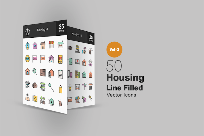 Thumbnail for 50 Housing Line Filled Icons