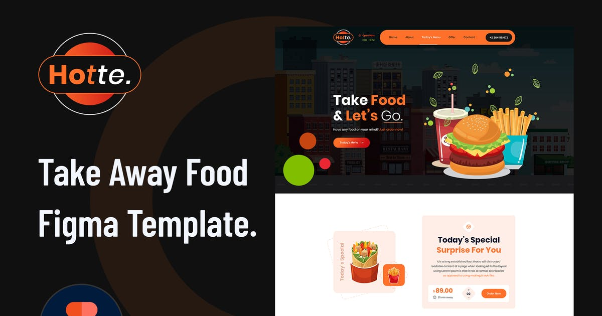 Download Hotte - Take Away Food Figma Template by envalab