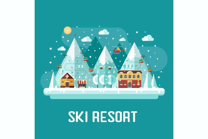 Thumbnail for Winter Ski Resort Flat Landscape