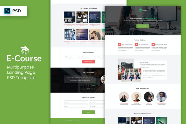 Thumbnail for E-Course - Landing Page PSD Template-02