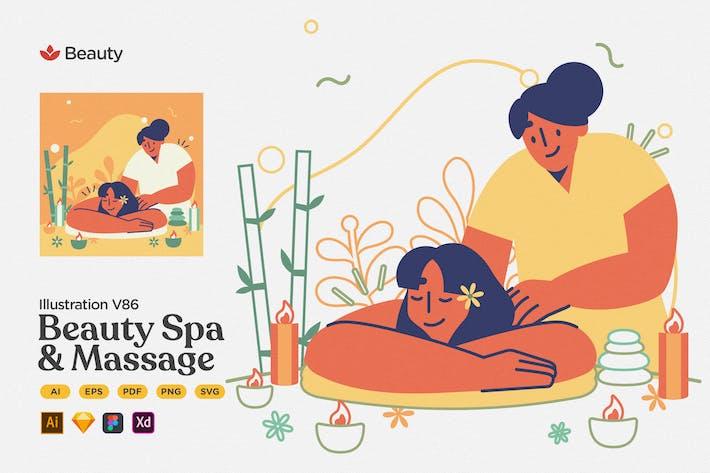 Schönheit - Spa & Massage Flache Illustration