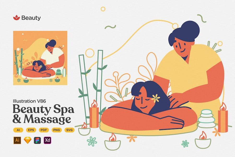 Красота - Спа и массаж Плоская иллюстрация