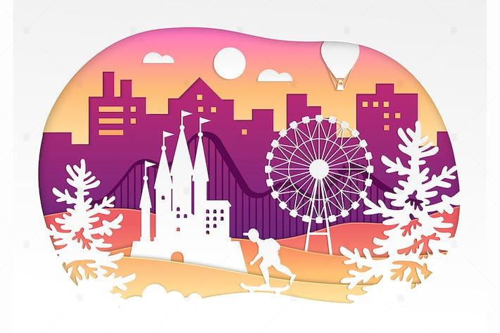 Thumbnail for Theme park - vector paper cut illustration