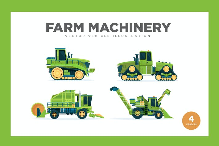 Cover Image For Farm Machinery Vector Set Illustration
