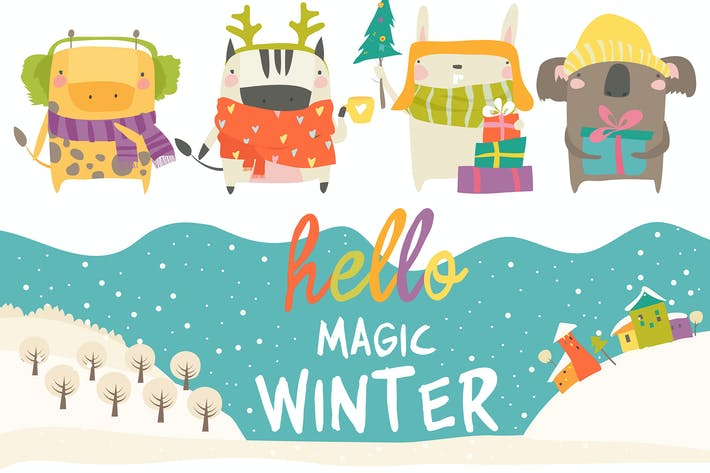 Vector set of cute animals with winter theme