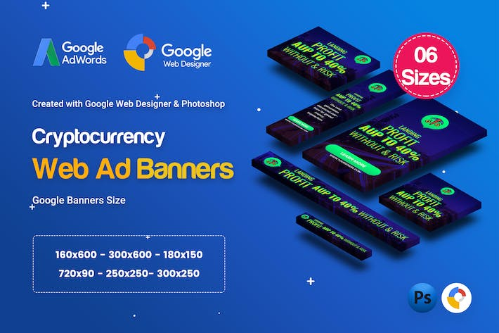 Thumbnail for C78 - Cryptocurrency Banners HTML5 Ad (GWD & PSD)