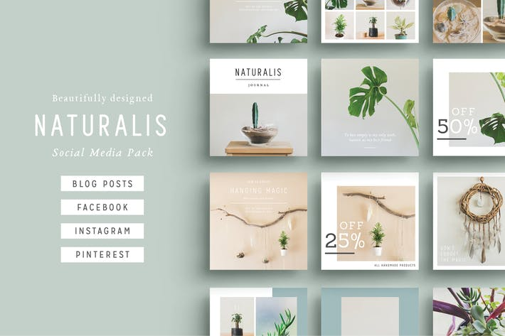 naturalis social media pack by fortysixandtwo on envato elements. Black Bedroom Furniture Sets. Home Design Ideas