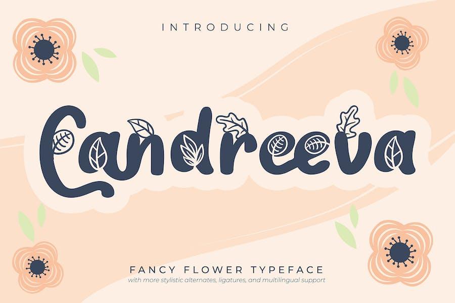 Candreeva | Fancy Flower Typeface Font