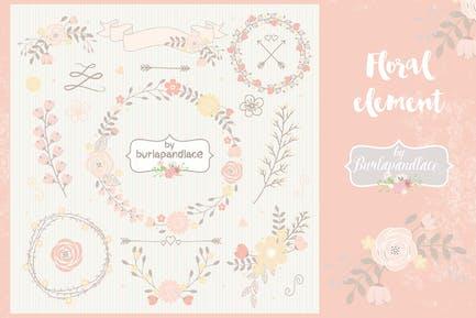 Peach Floral elements