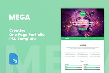MEGA - Creative One Page Portfolio PSD Tempate