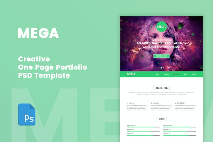 Thumbnail for MEGA - Creative One Page Portfolio PSD Tempate