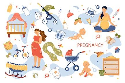 Schwangerschaftskonzept Isolierte Elemente Set