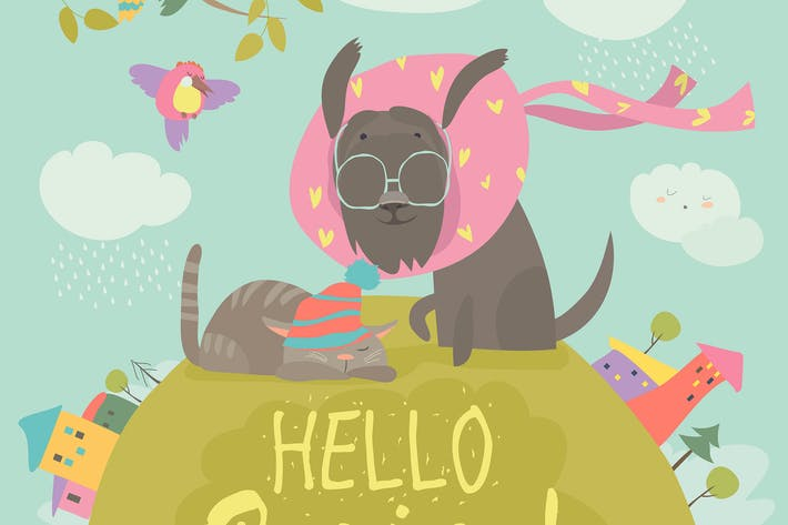 Funny dog and cute cat meeting spring. Vector