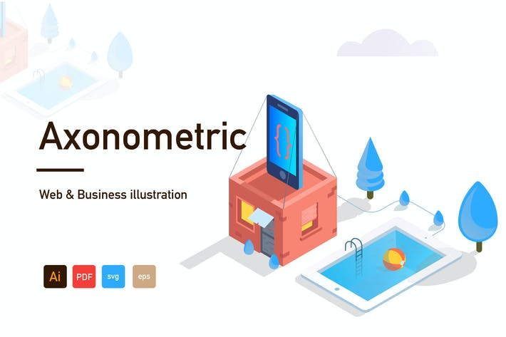Thumbnail for Axonometric Web and Business illustration-03