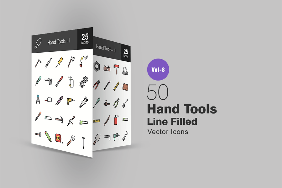 50 Hand Tools Line Filled Icons