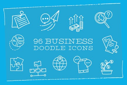 96 Business Doodle Icons