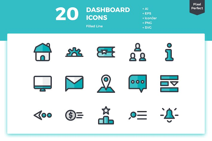Thumbnail for 20 Dashboard Icons (Filled Line)