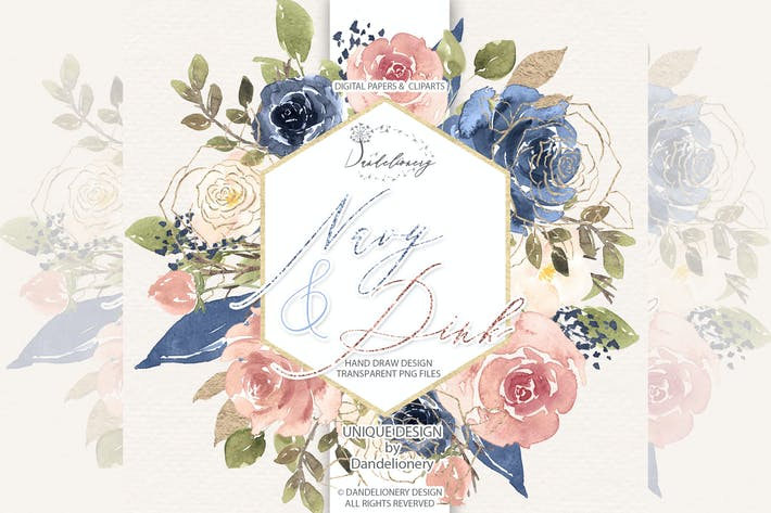 Thumbnail for Watercolor Navy and Pink design