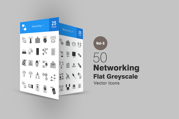 50 Networking Greyscale Icons