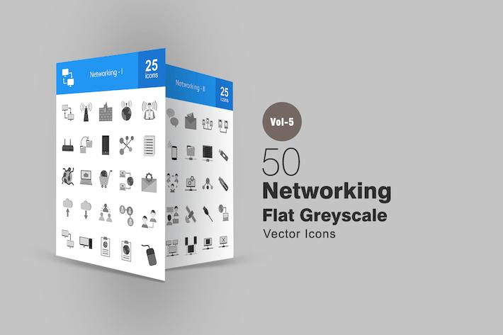 Thumbnail for 50 Icones de mise en réseau en niveaux de gris