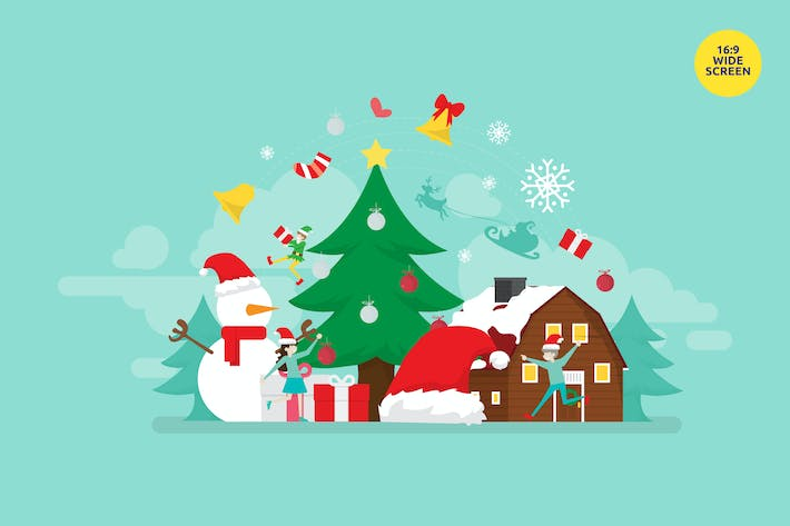 Thumbnail for Merry Christmas Vector Illustration Concept