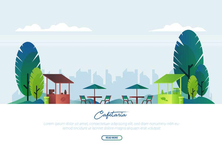 Cover Image For Cafetaria - Vector Landscape & Building