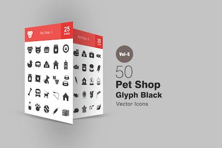 50 Pet Shop Glyphe Icons